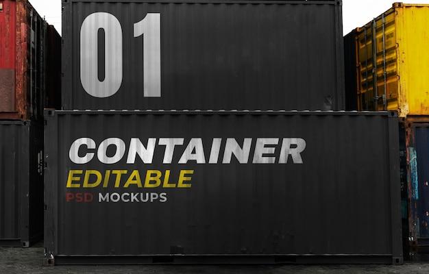 Container-mockup-psd für die produktlagerung