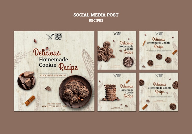 Cookie rezept social media post vorlage