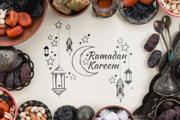 Copyspace-modell mit ramadan-konzept