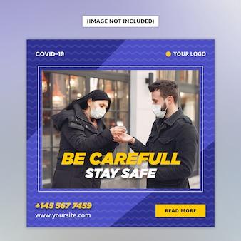 Corona virus warnung social media post vorlage