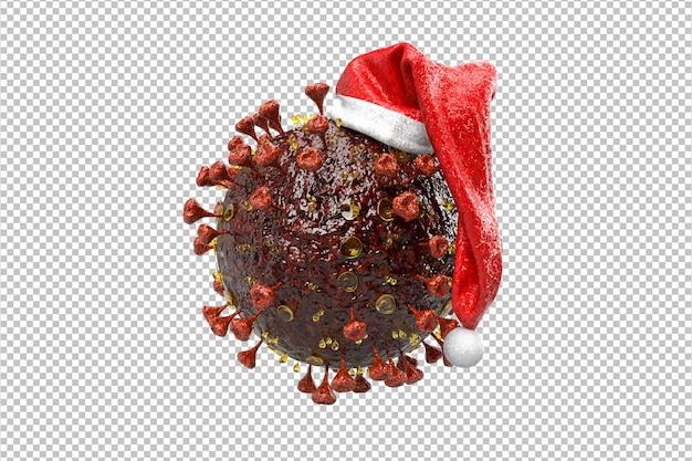 Corona-virus-weihnachtskonzept. weihnachtspandemie-konzept. 3d-rendering