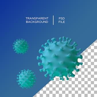 Coronavirus 3d auf transparentem hintergrund