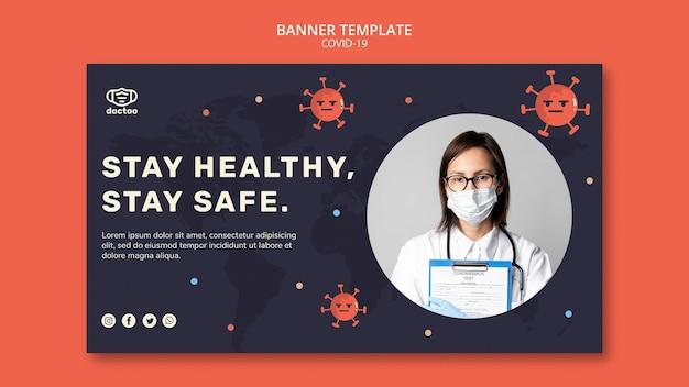 Coronavirus-banner-vorlage mit foto