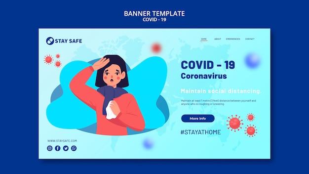 Coronavirus banner vorlage mit illustration