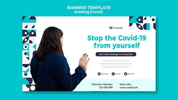 Coronavirus grüße banner vorlage mit foto