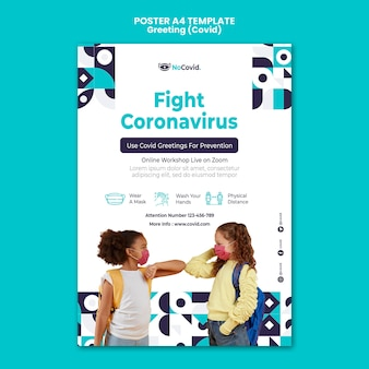 Coronavirus-grüße drucken vorlage mit foto