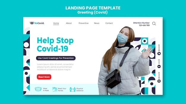 Coronavirus-gruß-landingpage-vorlage mit foto