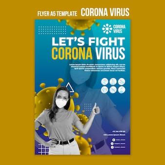 Coronavirus kampf flyer vorlage