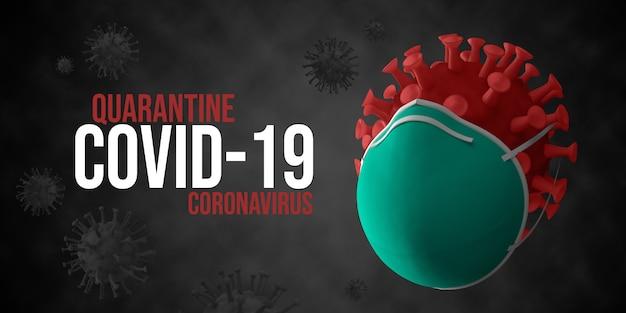 Coronavirus mit medizinischer maske 3d rendern illustration