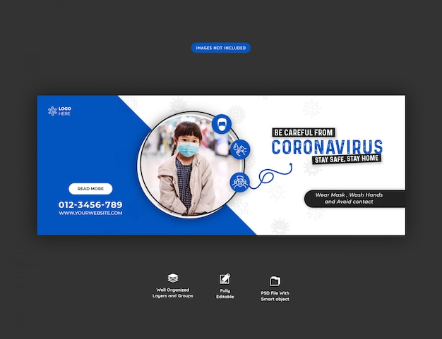 Coronavirus oder convid-19 facebook cover vorlage premium psd