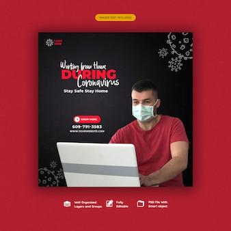 Coronavirus oder convid-19 social media banner vorlage