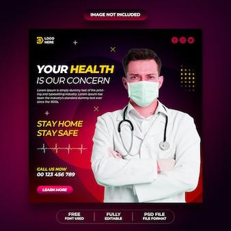 Coronavirus oder covid-19 social media post flyer sammlung vorlage