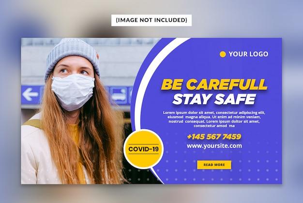 Coronavirus- oder covid-19-webbanner-vorlage