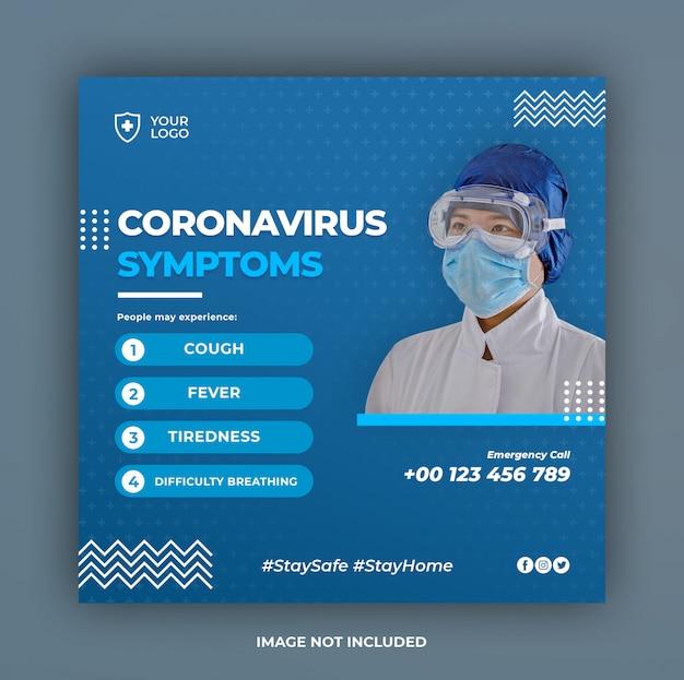 Coronavirus symptome banner oder quadratischer flyer für social media post vorlage