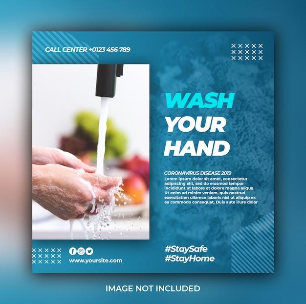 Coronavirus warnung social media instagram banner post vorlage oder quadratischen flyer