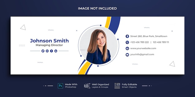 Corporate business e-mail-signaturvorlage oder e-mail-fußzeile und persönliches social-media-cover-design