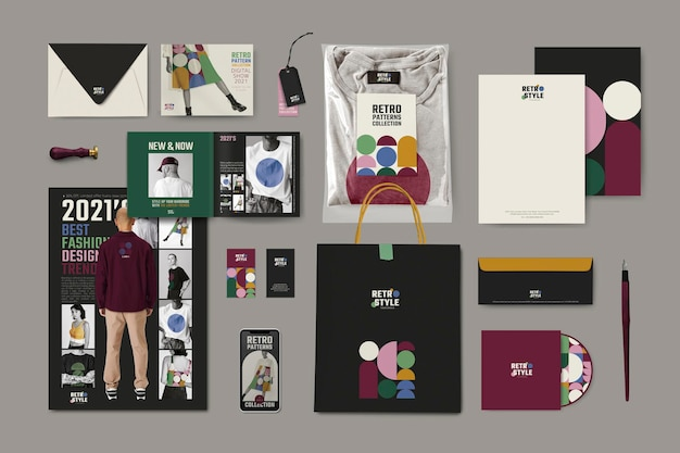 Corporate identity mockup psd im retro-stil für mode- und beautymarken