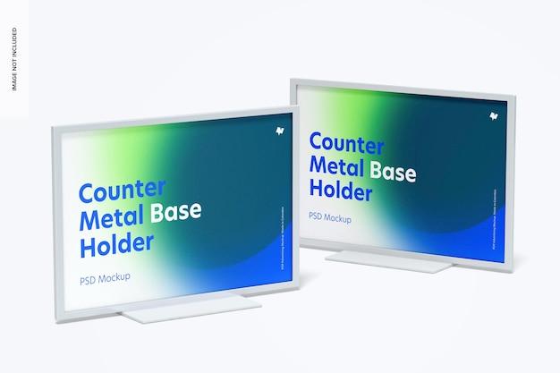 Counter top metal base holders mockup, ansicht von rechts und links