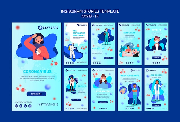Covid-19 instagram geschichten vorlage mit illustration