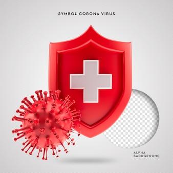 Covid-19 symbol corona virus 3d-schutz
