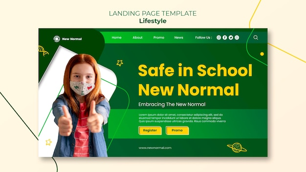 Covid lifestyle landing page design-vorlage