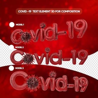 Covid-texteffektmodelle in 3d rendern isoliert