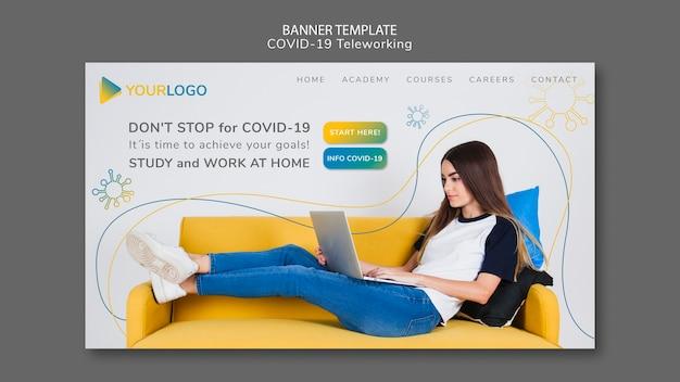 Covid19 banner vorlage mit bild