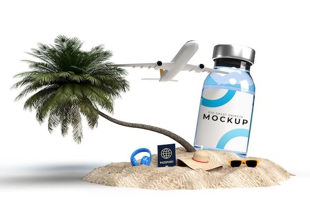 Covid19-impfstoff-modellvorlage mit reisezubehör für das medizinische geschäft von krankenhauskliniken