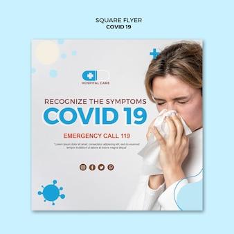 Covid19 quadratische flyer-konzeptvorlage