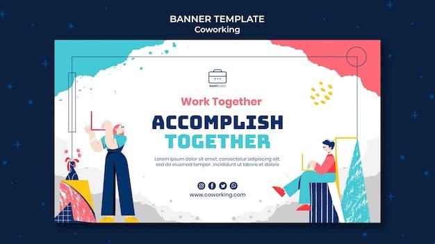 Coworking-banner-vorlage illustriert