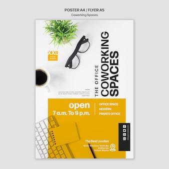 Coworking büroraum flyer vorlage