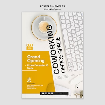 Coworking büroraum poster vorlage