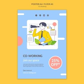 Coworking-druckvorlage illustriert