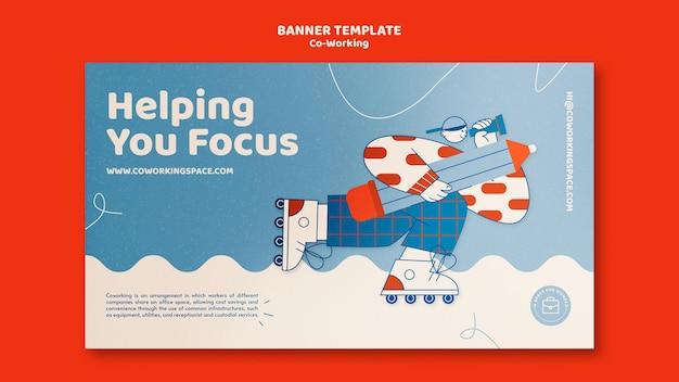 Coworking horizontale bannervorlage