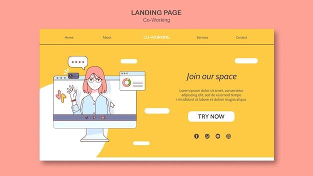 Coworking-landingpage-vorlage Premium PSD