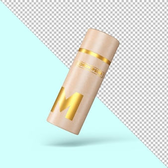 Craft paper tube goldener effekt verpackungsmodell