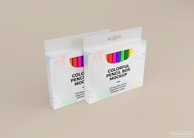 Crayon box mockup design in 3d-rendering isoliert