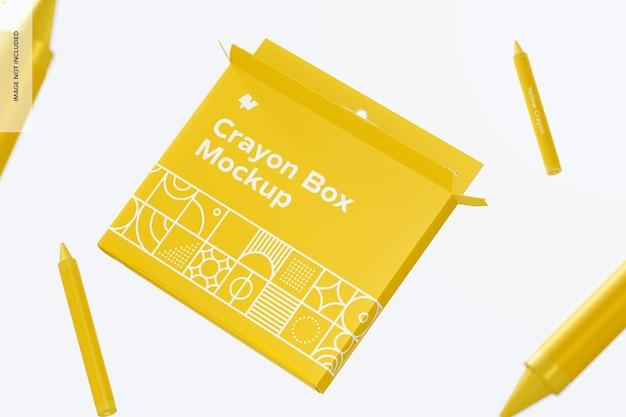 Crayon box mockup, schwimmend