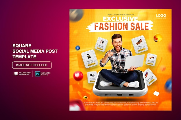 Creative concept flash sale online-shopping-werbung auf social-media-post