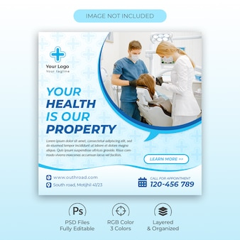 Creative medical square flyer oder social media post vorlage premium psd