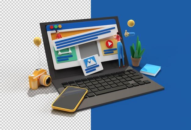 Creative mobile mockup mit laptop-webentwicklungsbanner, marketingmaterial.