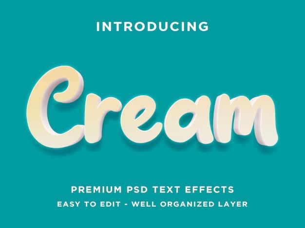 Creme 3d text style-effekt