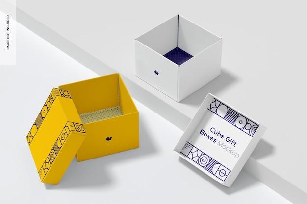 Cube geschenkboxen set mockup