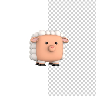 Cube happy sheep 3d-rendering-modell