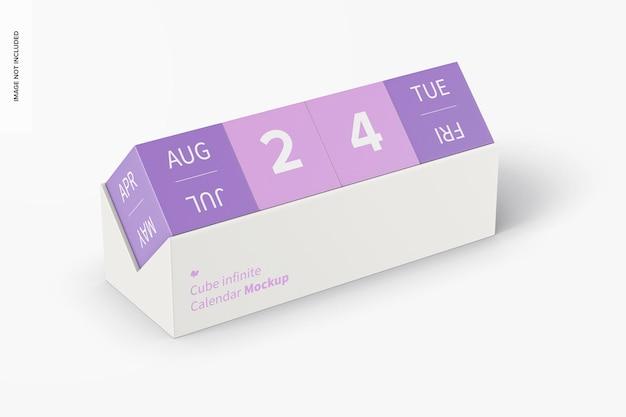 Cube infinite calendar mockup, perspektivische ansicht