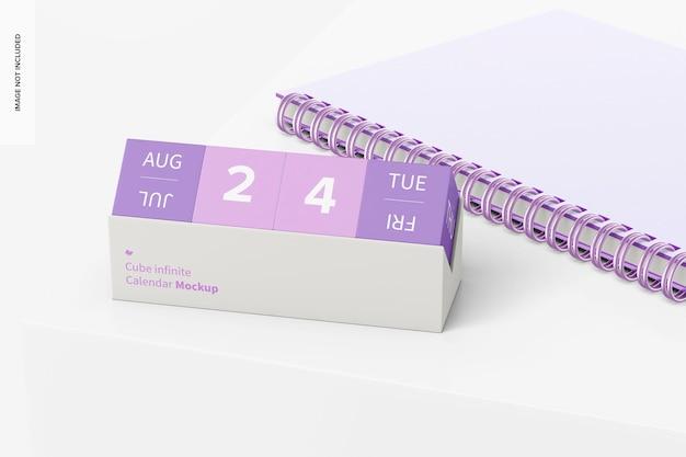Cube infinite kalender mit notebook-mockup