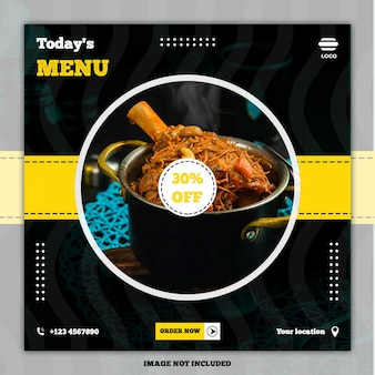 Culinary food menü banner social media post