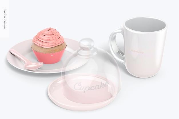 Cupcake-ständer mit kuppeldeckel mit bechermodell