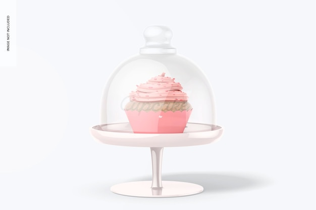 Cupcake-ständer mit kuppeldeckel-modell