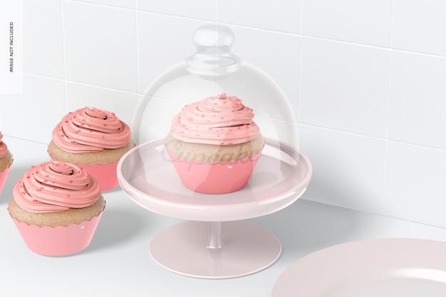 Cupcake-ständer mit kuppeldeckelmodell, perspektive